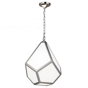 Feiss Diamond 1 Light Ceiling Medium Pendant Polished Nickel for sale at Lichfield Lighting