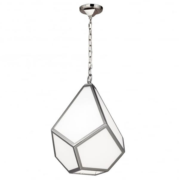 Feiss Diamond 1 Light Ceiling Medium Pendant Polished Nickel for sale at Lichfield Lighting