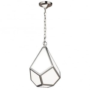 Feiss Diamond 1 Small Light Ceiling Pendant Polished Nickel for sale at Lichfield Lighting
