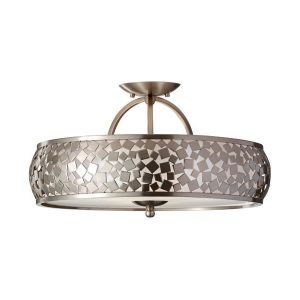 Feiss Zara 3 Light Ceiling Light Brushed Steel for sale at Lichfield Lighting