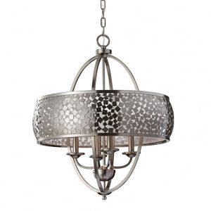 Feiss Zara 4 Light Ceiling Pendant Brushed Steel for sale at Lichfield Lighting
