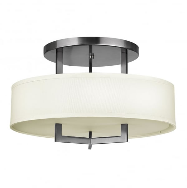 Hinkley Hampton Semi-Flush 3 Light Ceiling Light Antique Nickel ...