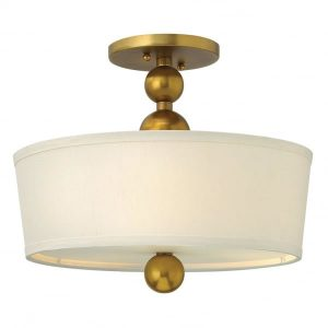 Hinkley Zelda 3lt Semi-Flush Vintage Brass for sale at lichfieldlighting.co.uk