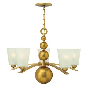 Hinkley Zelda 5lt Chandelier Vintage Brass for sale at Lichfield Lighting