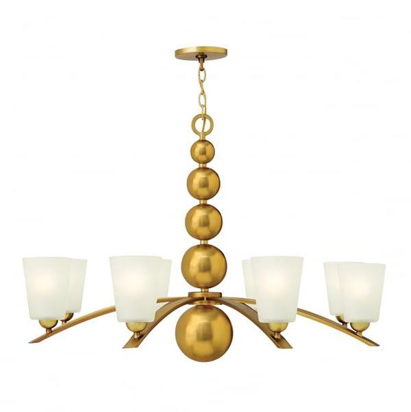 Hinkley Zelda 8lt Chandelier Vintage Brass for sale at Lichfield Lighting