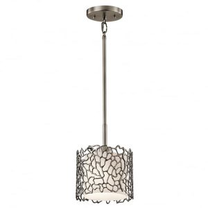 Kichler Silver Coral 1 Light Mini Ceiling Pendant Pewterfor sale at Lichfield Lighting