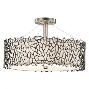 Kichler Silver Coral 3 Light Duo-Mount Ceiling Light Pendant Pewter for sale at Lichfield Lighting