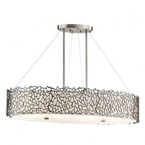 Kichler Silver Coral Oval Island Light 4 Lightfor sale at Lichfield Lighting