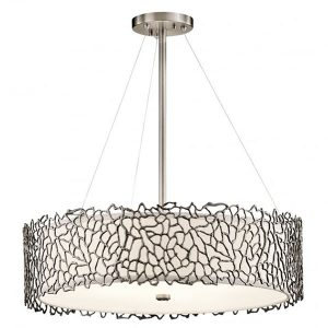 Kichler Silver Coral 4 Light Pendant Ceiling Light Pewter for sale at Lichfield Lighting