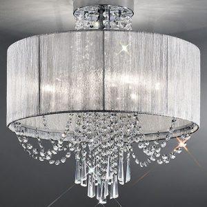 Franklite Empress 6lt Flush Ceiling Light Chrome sale at Lichfield Lighting