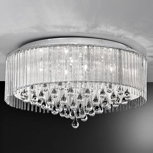 Franklite Spirit 8lt Flush Ceiling Light Chrome for sale at Lichfield Lighting