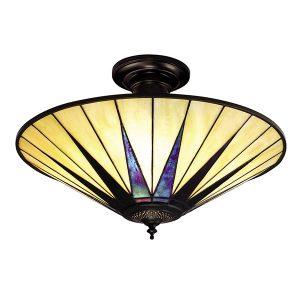 Tiffany Dark star large 3lt flush Ceiling Light for sale at Lichfield Lighting