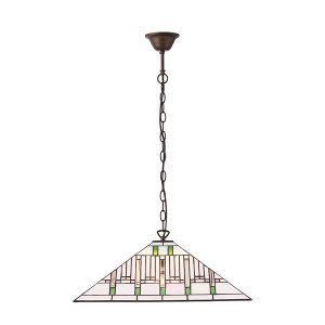 Tiffany Mission large 3lt pendant ceiling light for sale at Lichfield Lighting
