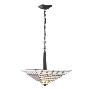 Tiffany Mission large inverted 2lt pendant ceiling light for sale at Lichfield Lighting