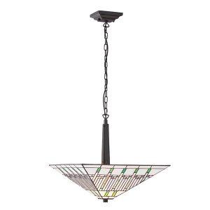 Tiffany Mission medium inverted 2lt pendant ceiling light for sale at Lichfield Lighting