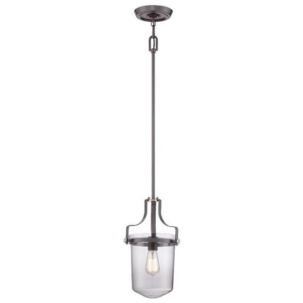Elstead Quoizel Penn Station Pendant Light in Brushed Nickel from Lichfield Lighting