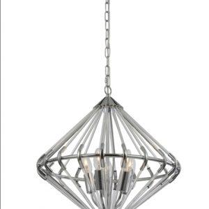 Franklite follie FL2361/5 chrome glass light pendant for sale at Lichfield Lighting