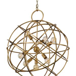 Franklite orbit FL2366/7 Modern matt gold iron work light pendant for sale at Lichfield Lighting