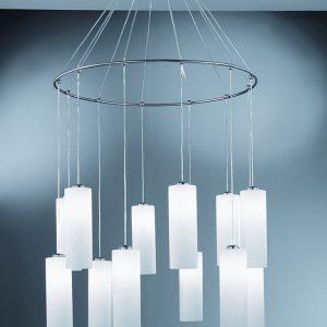 Franklite Pendeo CO93212/887 Modern chrome finish 12 light pendant for sale at Lichfield Lighting