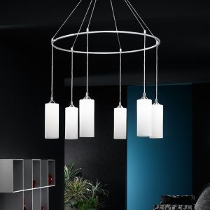Franklite Pendeo FL2199/6/887 Fitting Modern chrome finish pendant for sale at Lichfield Lighting