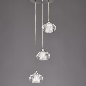 Franklite tizzy FL2343/3 Fitting Modern chrome finish pendant for sale at Lichfield Lighting