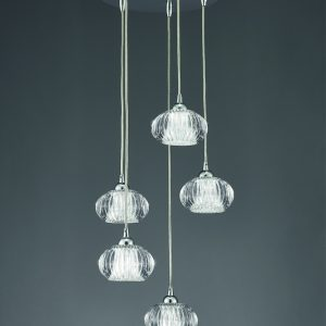 Franklite tizzy FL2344/5 Fitting Modern chrome finish pendant for sale at Lichfield Lighting