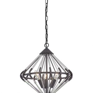 Franklite Follie FL2363/3 Fitting Modern antique finish ironwork and glass pendant for sale at Lichfield Lighting