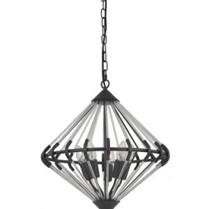 Franklite Follie FL2363/5 Fitting Modern antique finish ironwork and glass pendant for sale at Lichfield Lighting