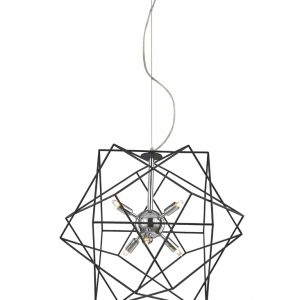 Franklite Vinci FL2373/6 Fitting Modern chrome finish with decorative antique finish ironwork frame pendant for sale at Lichfield Lighting