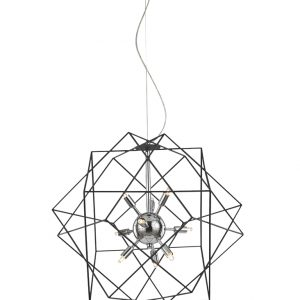 Franklit Vinci FL2373/6 Fitting Modern chrome finish with decorative antique finish ironwork frame pendant for sale at Lichfield Lighting