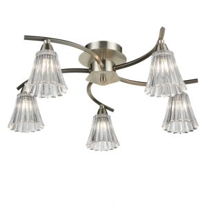 Franklite Clemmy FL2376-5 light Ceiling Satin Nickel sale at Lichfield Lighting