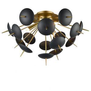 Franklite Dandy FL2386/3 Fitting Modern matt gold and black flush light for sale at Lichfield Lighting
