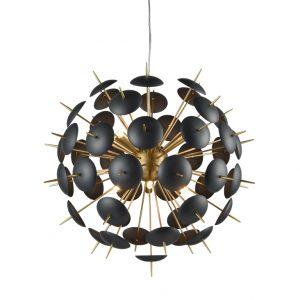 Franklite Dandy FL2386/12 Fitting Modern matt gold and black pendant for sale at Lichfield Lighting
