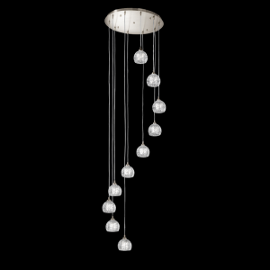 Franklite Tierney FL2300/10 Fitting Modern satin nickel pendant for sale at Lichfield Lighting