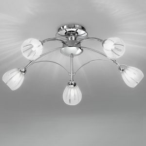 Franklite Chloris 5lt Ceiling Flush Light Chrome for sale at Lichfield Lighting
