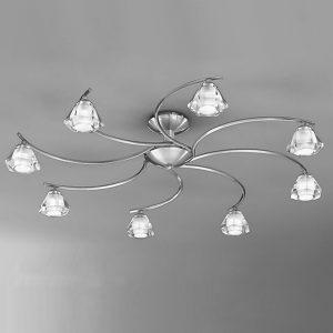 Franklite Twista 8 light Flush Ceiling Light Satin Nickel for sale at Lichfield Lighting