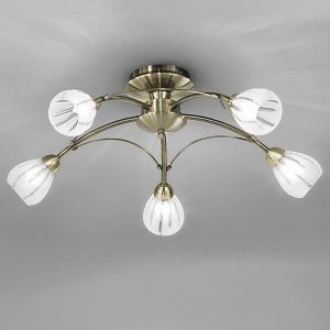 Franklite Chloris 5lt Ceiling Flush Light Bronze for sale at Lichfield Lighting