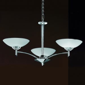 Franklite Fizz FL2006/3 Fitting Modern chrome finish and glass pendant for sale at Lichfield Lighting