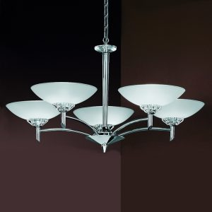 Franklite Fizz FL2006/5 Fitting Modern chrome finish and glass pendant for sale at Lichfield Lighting