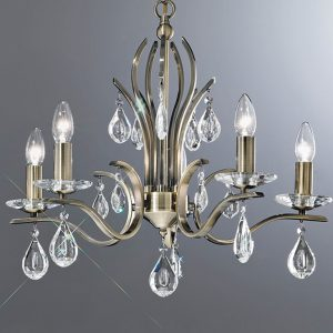 Franklite Willow 5 light Chandelier Franklite Willow 5 light Chandelier Matt Gold Finish for sale at Lichfield Lighting