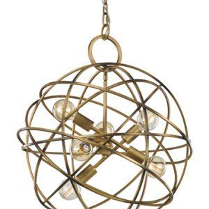 Franklite orbit FL2366/6 Modern matt gold iron work light pendant for sale at Lichfield Lighting