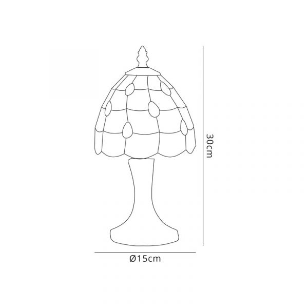 Lichfield Lighting Chatterton Tiffany Table Lamp, 1 x E14, Black/Gold, Beige/Clear Crystal Shade Dimensions