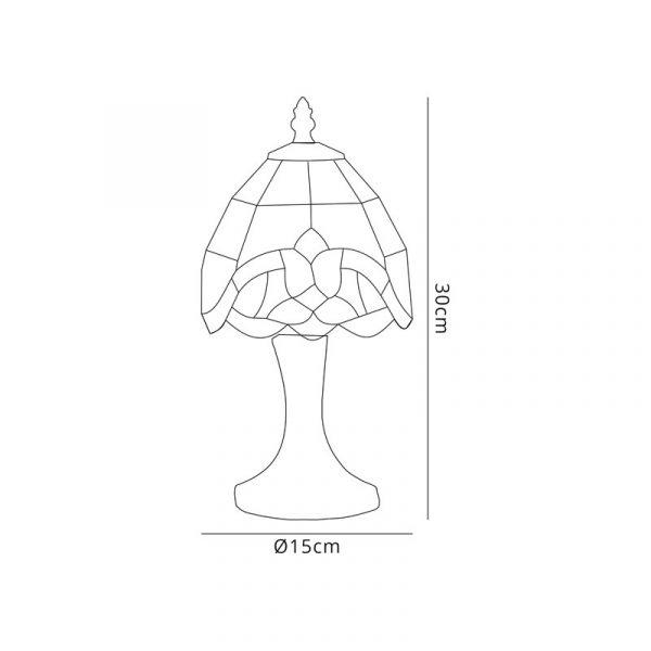 Lichfield Lighting Cedar Tiffany Table Lamp, 1 x E14, Credlock/Amber/Clear Crystal Shade Dimensions