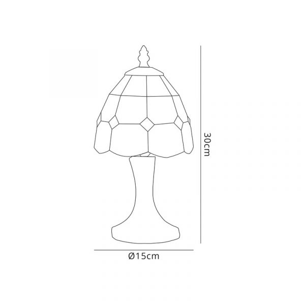 Lichfield Lighting Ormonds Tiffany Table Lamp, 1 x E14, White/Blue/Clear Crystal Shade Dimensions