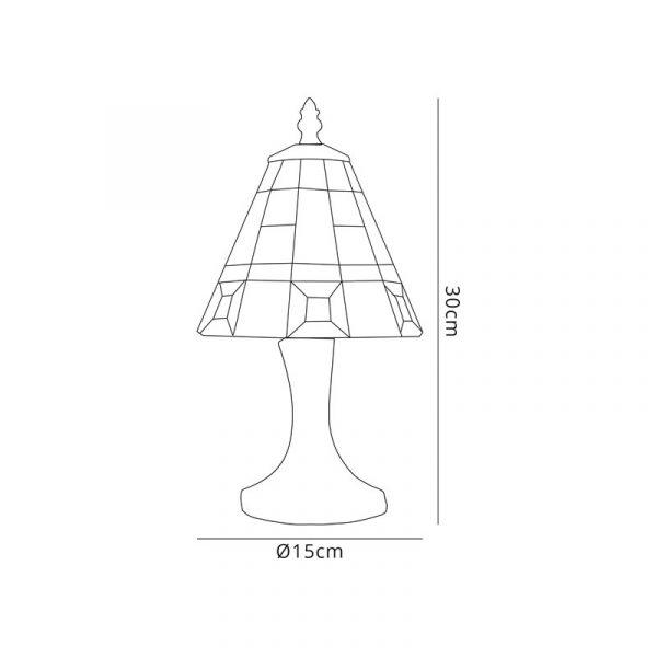 Lichfield Lighting Scott Tiffany Table Lamp, 1 x E14, Credlock/Grey/Clear Crystal Shade Dimensions