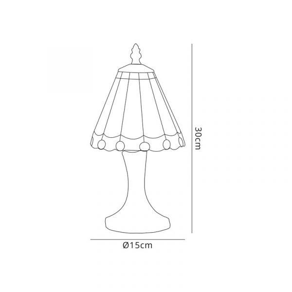 Lichfield Lighting St John Tiffany Table Lamp, 1 x E14, White/Grey/Clear Crystal Shade Dimensions