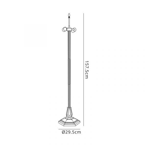 Lichfield Lighting Market Leaf Design Floor Lamp, 2 x E27, Aged Antique Brass Dimensions
