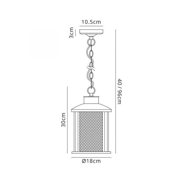Lichfield Lighting Austin Pendant, 1 x E27, Antique Bronze/Clear Glass, IP54, 2yrs Warranty Dimensions