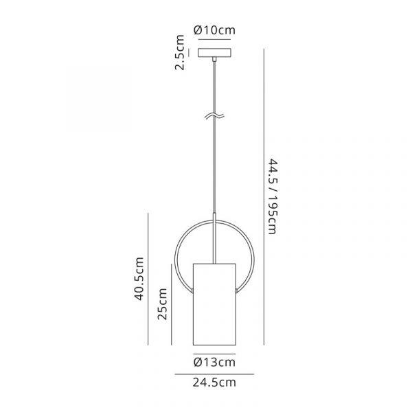 Lichfield Lighting Agincourt Single Pendant, 1 x E27, Satin Nickel/Polished Chrome Dimensions