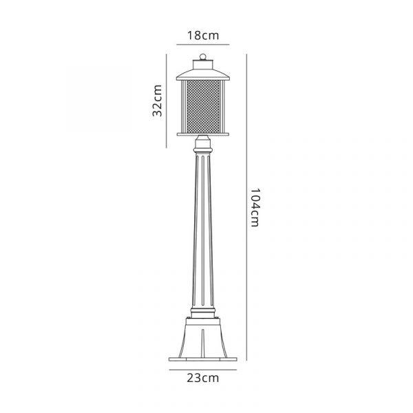 Lichfield Lighting Austin Single Headed Post Lamp, 1 x E27, Antique Bronze/Clear Glass, IP54, 2yrs Warranty Dimensions